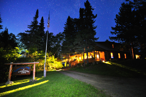 clearwater lodge front at night