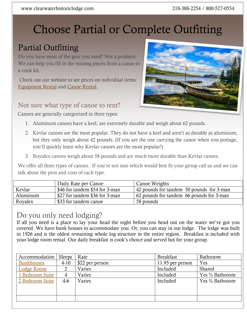 Outfitting Planning Outfitting Needs